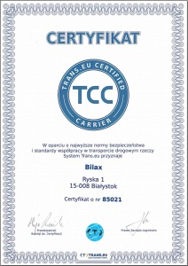 Сертификат TCC (Trans.eu Certified Carrier)